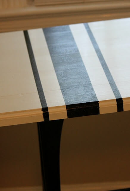 The finished DIY after using Frogtape to section off stripes and then paint the table