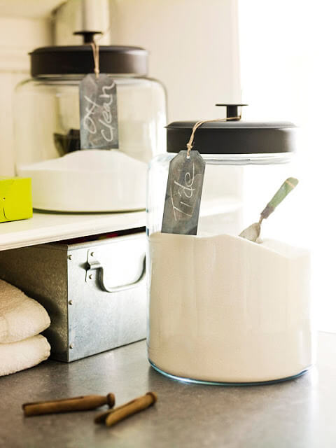 Clear glass canisters for sugar and flower in your kitchen