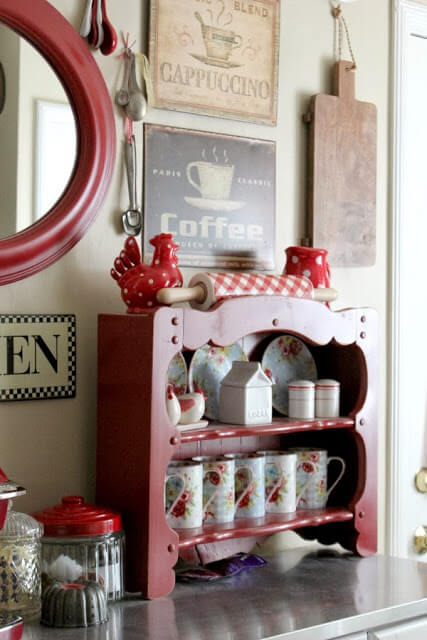 My little kitchen coffee bar with lots of red colors