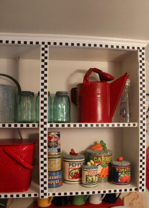 One of the projects was above the kitchen stove I took off the cabinet doors and display my pretties where I could always see them.