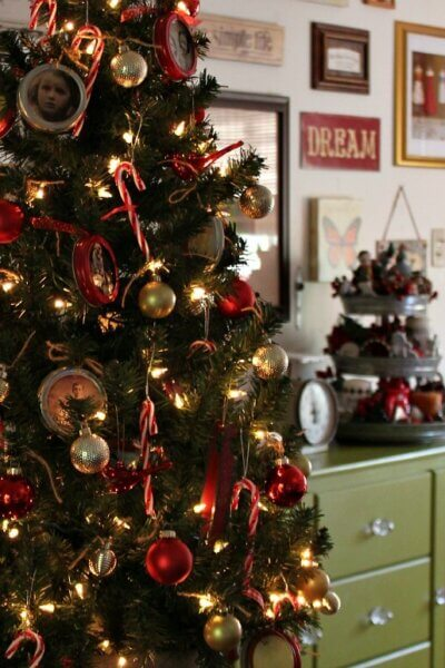 The Tree With The Homemade Jar Lid Ornaments