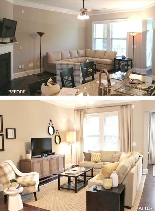 Lovely In The Case Above, In The First Photo, The Furniture Hug The Walls. But By  Bringing The Sectional Away From The Wall, You Create The Illusion Of More  Space.