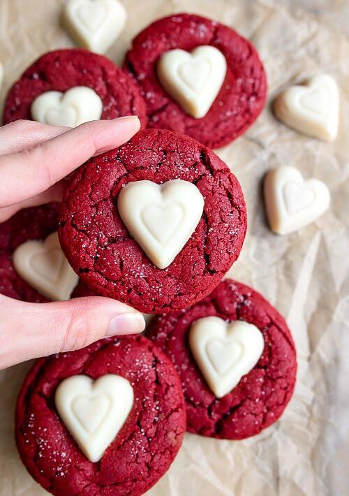 valentine's day red velvet sugar cookies