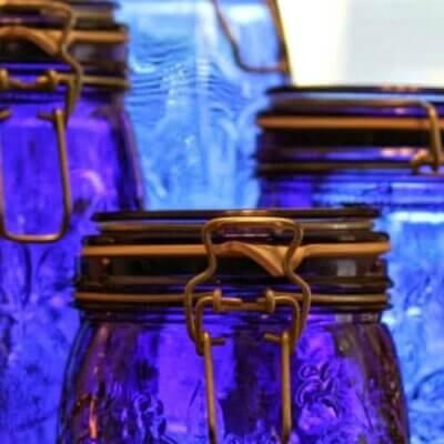Cobalt blue jar set