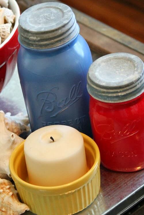 Painted vintage mason jars