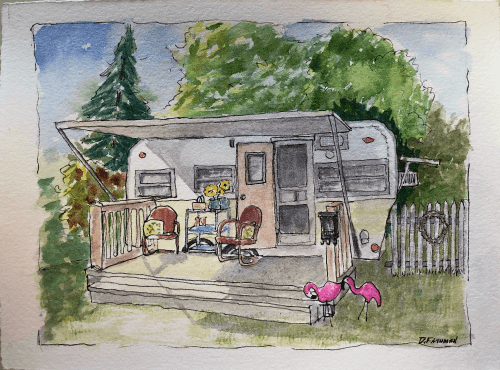 Sketch of vintage camper trailer