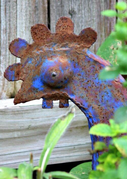 Blue steel rooster garden art