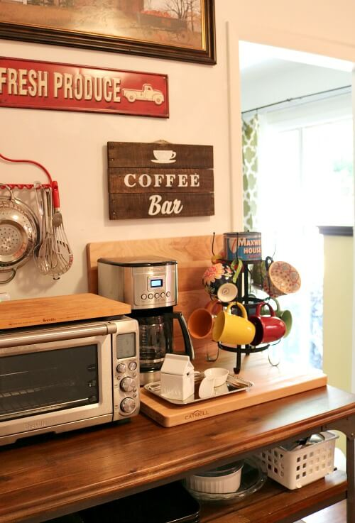 Kitchen cart with Breville oven and coffee bar fixings