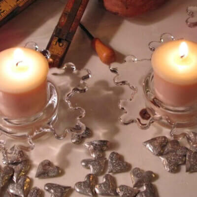 Candles with little hearts