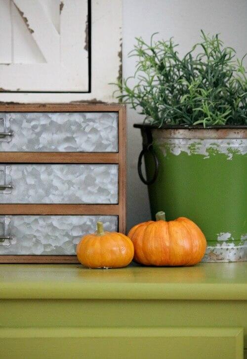 Craft nook with mini pumpkins