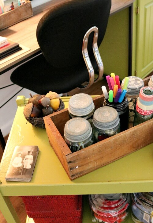 Craft supplies in vintage box