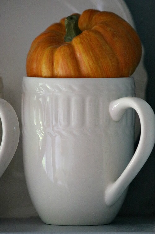 White mug with mini orange pumpkin
