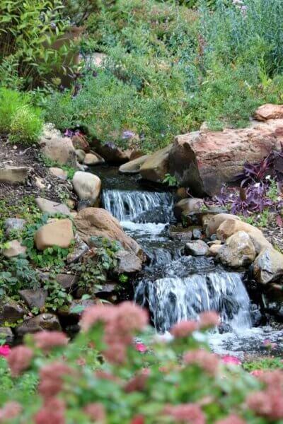 A waterfall at Woodward Park