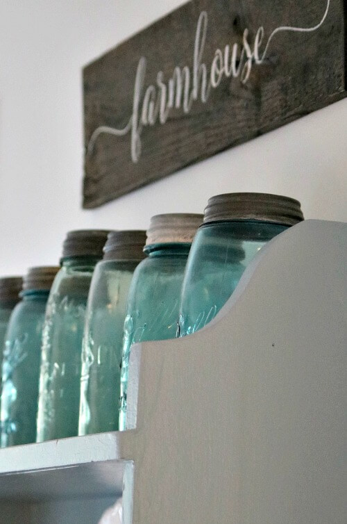 mason jars on hutch