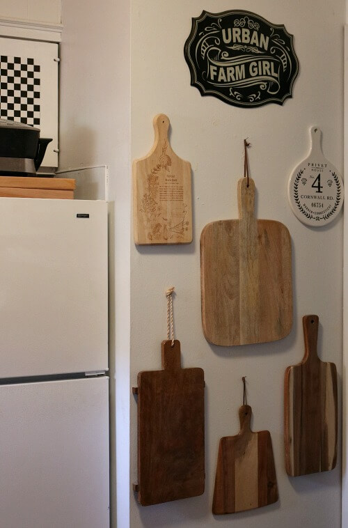Cutting boards hanging on my kitchen wall