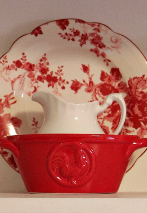 red and white kitchen vignette