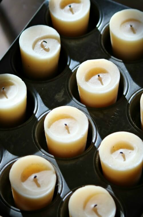 Candles in muffin tins