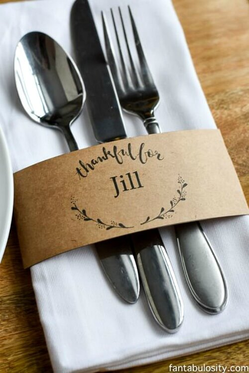 Table place card for Thanksgiving