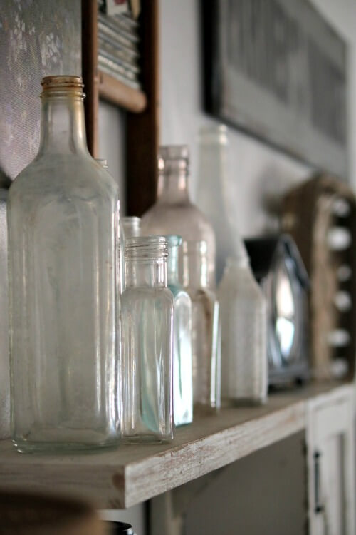 Vintage bottles on shelf