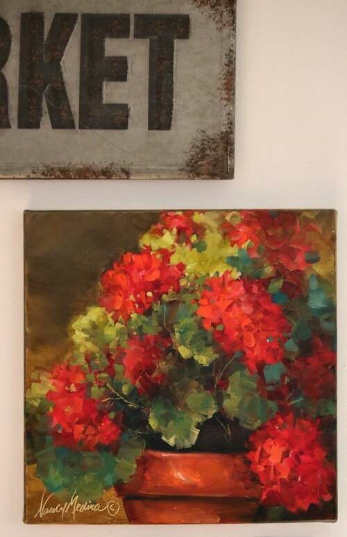 red geraniums painting by Nancy Medina