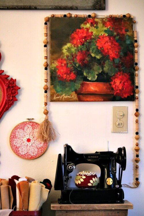My craft area and geranium painting by Nancy Medina