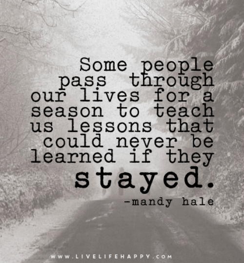 A quote about people who teach us lessons that could never be learned if they stayed in our lives.