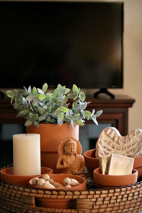 Decorating Challenge #1: Terra Cotta Pots In The Living Room