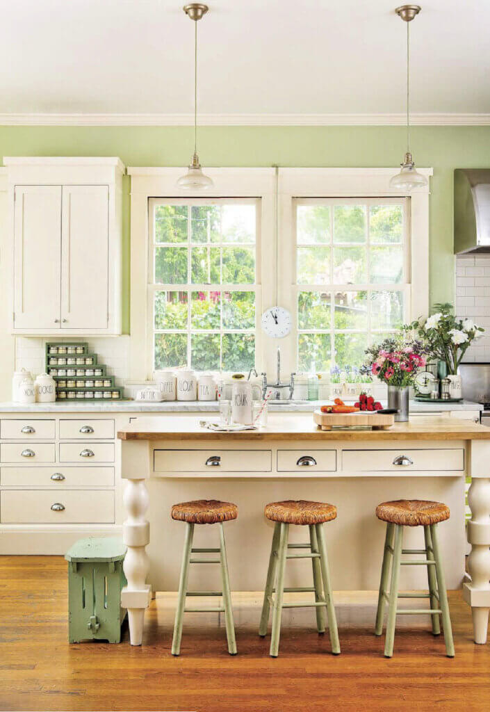 White kitchen with light green accents