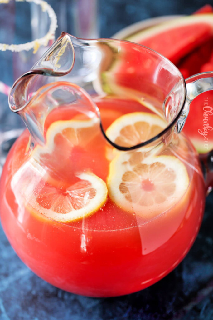 Watermelon lemonade with slices of lemon