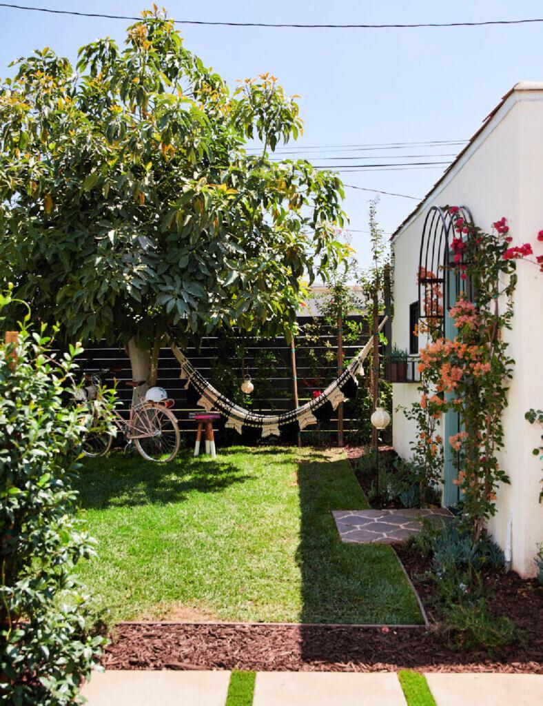 A hammock hanging in the backyard of an LA bungalow