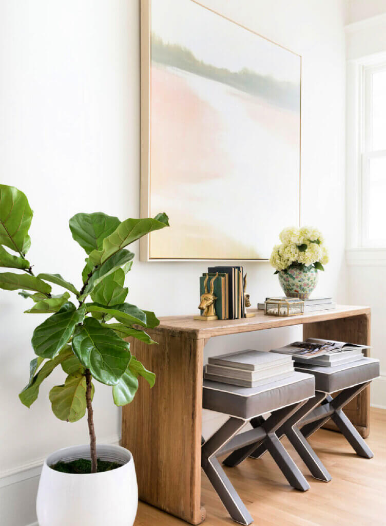 Entryway with house plant and console with gray upholstered tools