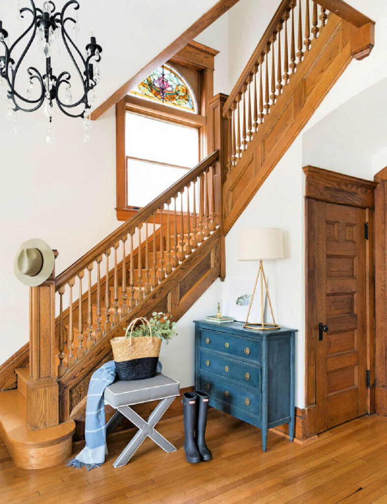 Wood stairs in historical home