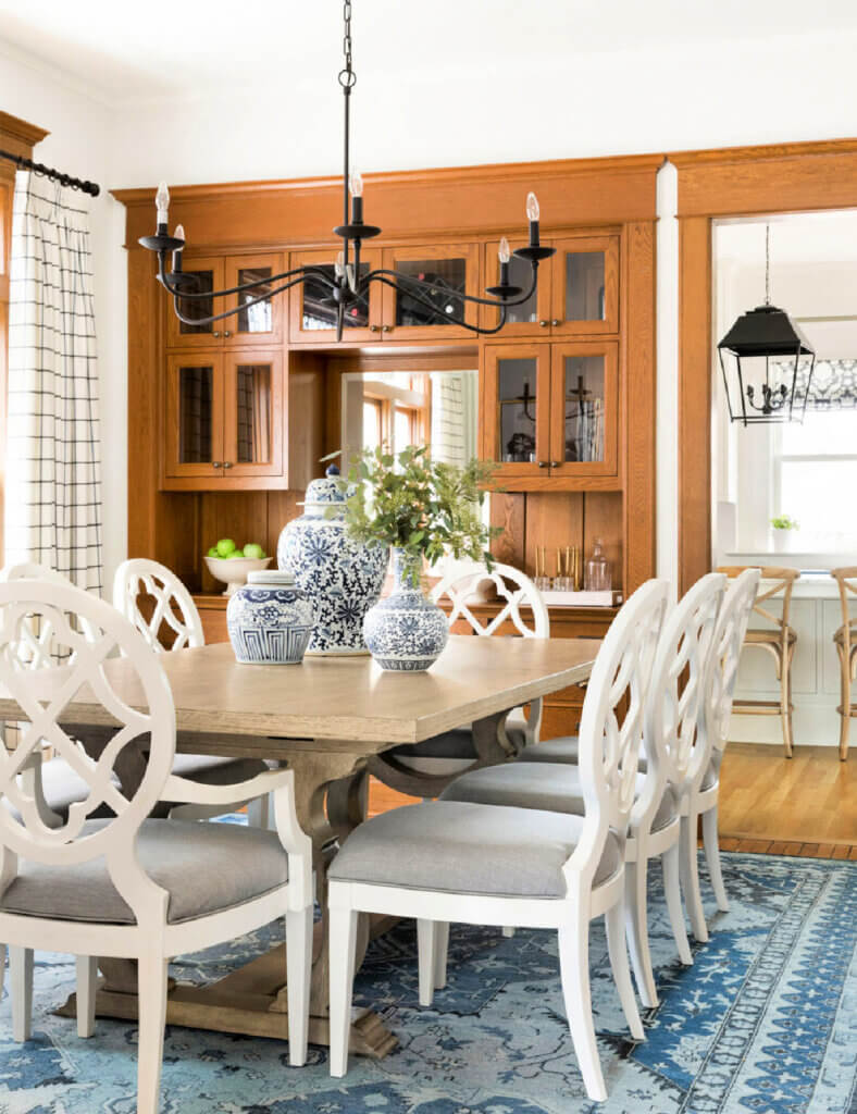 Traditional dining room in historical home