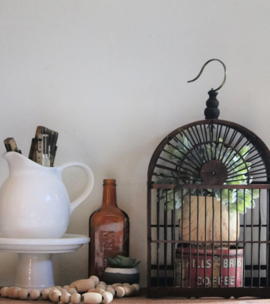 A birdcage with a faux plant inside that I bought at a consignment store.
