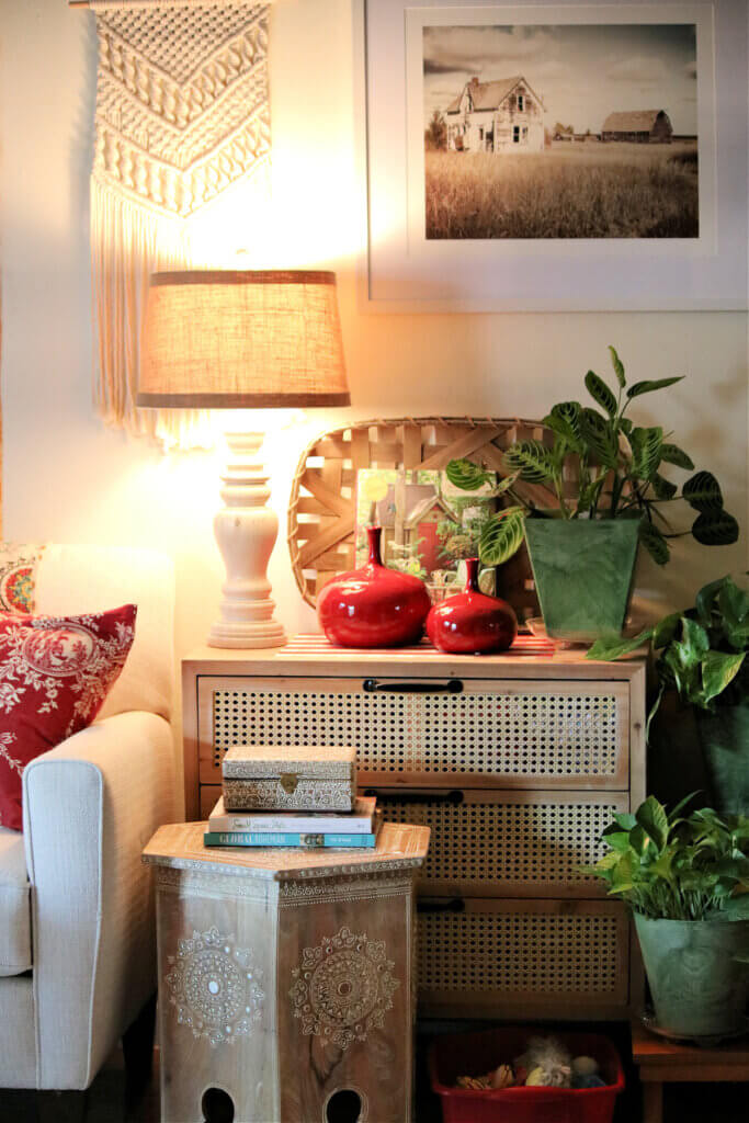 My living room with two red vases I bought at the consignment store.