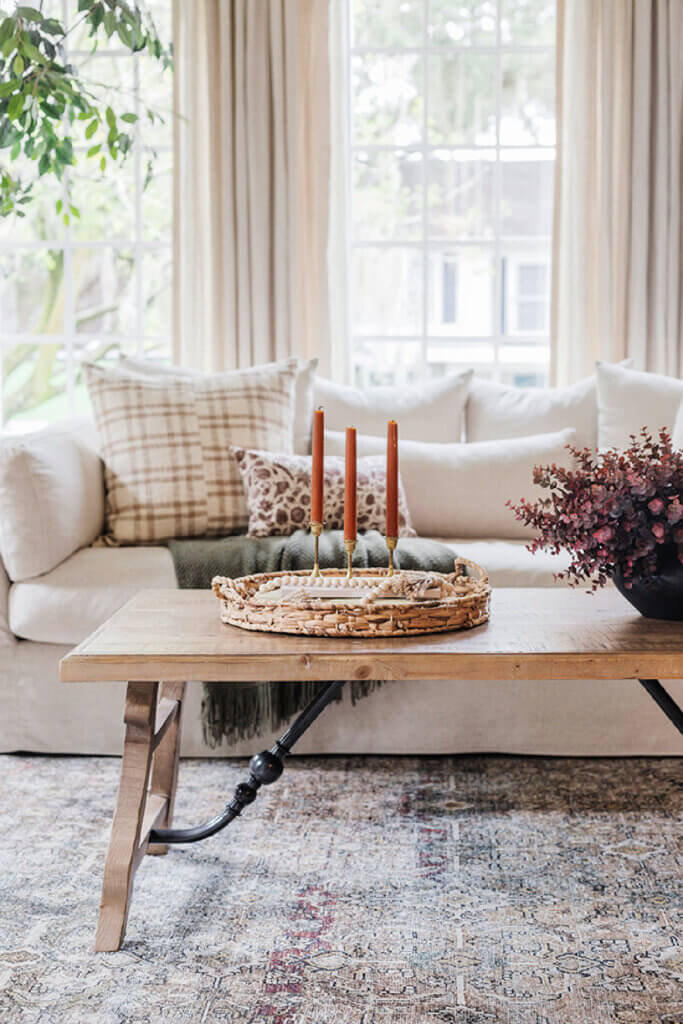Jenna Sue shows her living room dressed up in some of her fall finds in new and notable mentions
