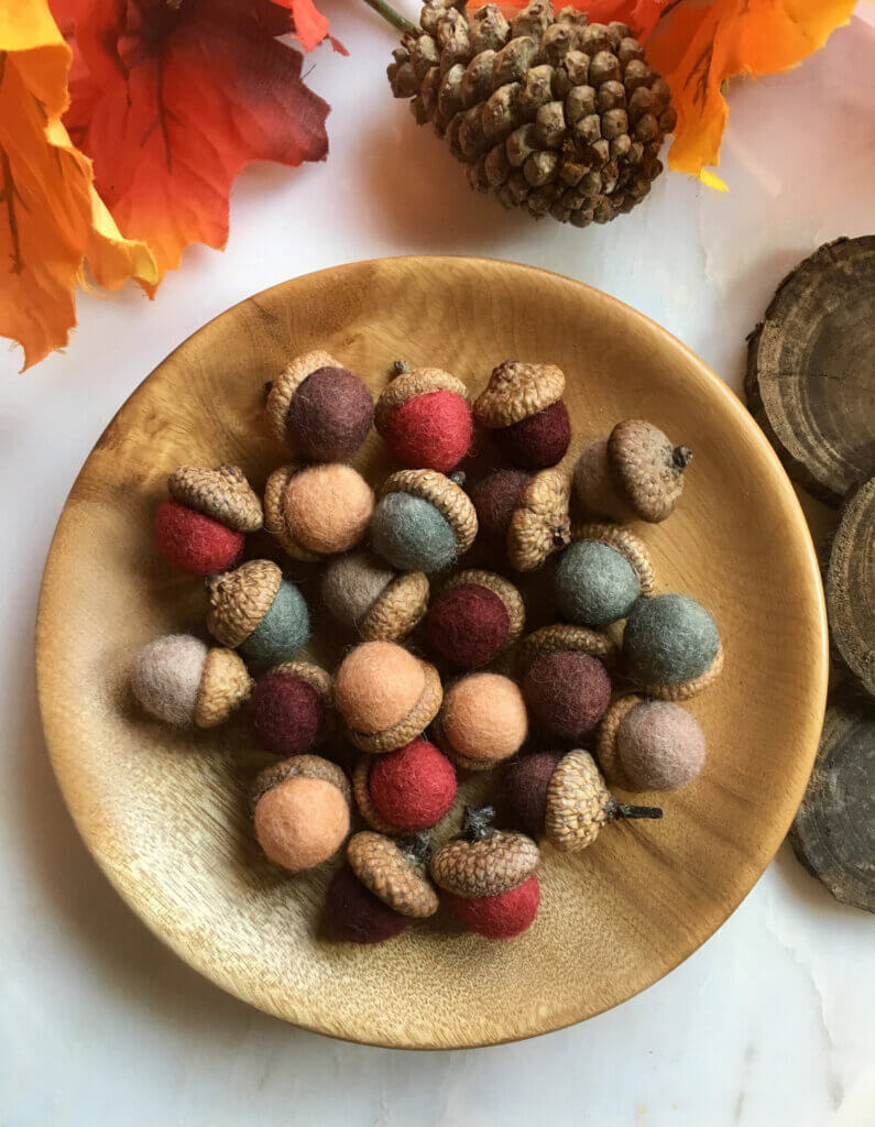Felted acorns in a wood bowl for sale