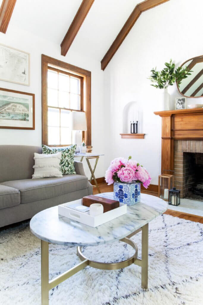 A corner of the living room of this Tudor-style home