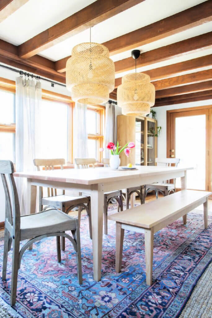 The dining room in this Tennessee Tudor home