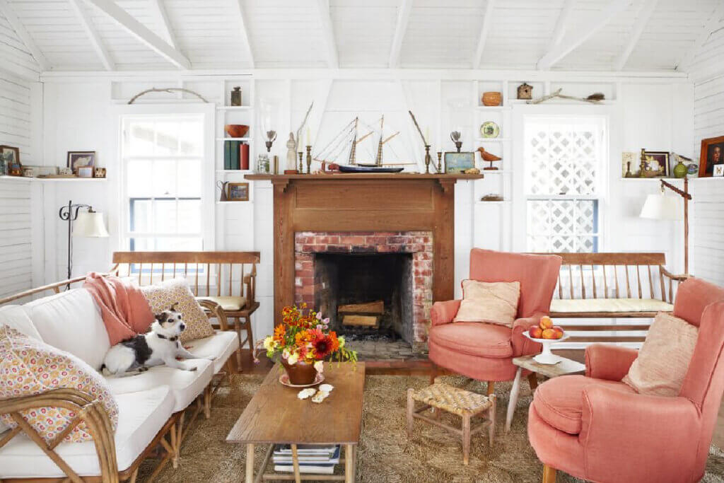 The living room furnishings are chosen to withstand two dogs and sandy feet at this Martha's Vineyard beach cottage.