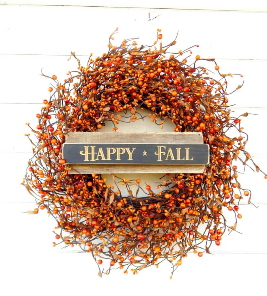 An orange wreath at an Etsy shop for fall decor