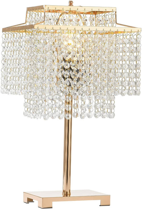 favorite gold table lamp with dangling crystals