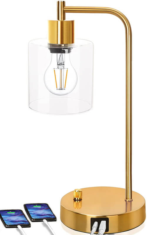 favorite gold table lamp with edison bulb