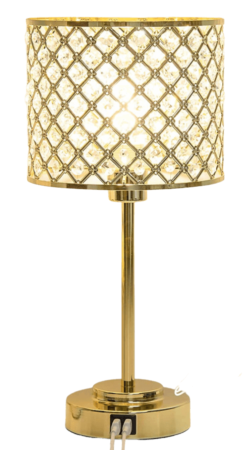 favorite gold table lamp with diamond shapes