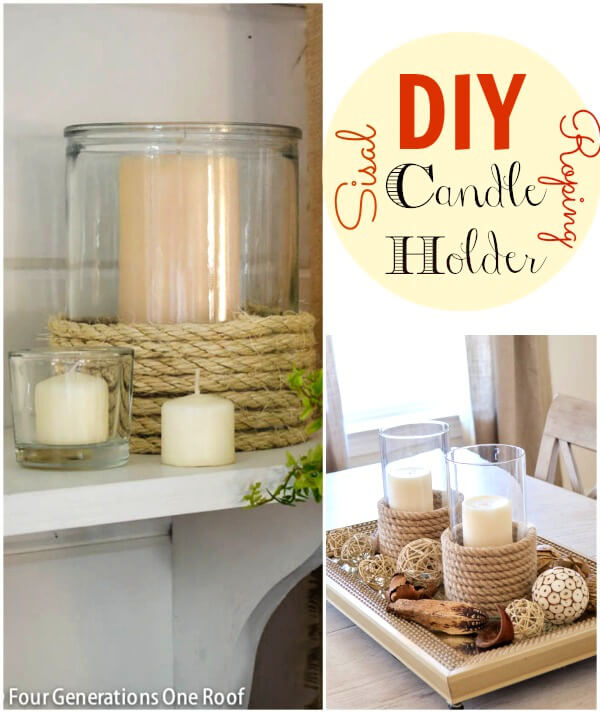 A DIY candle holder decorated with rope