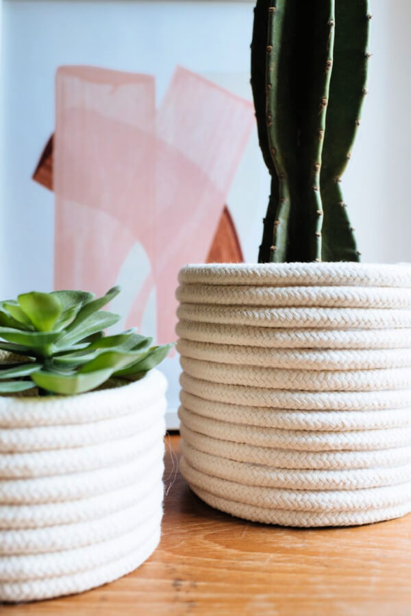 A planter covered in rope