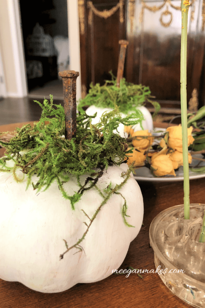 A fall craft with homemade white pumpkins for Notable Mentions