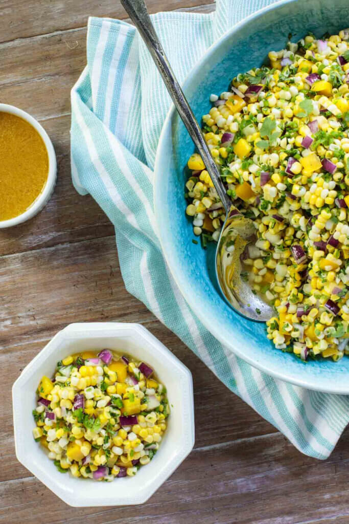 A corn salad for dining later