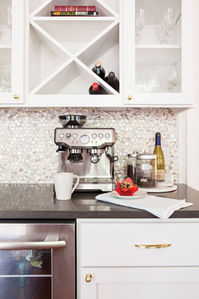 The designer changed up the kitchen back splash in this newly renovated Texas home