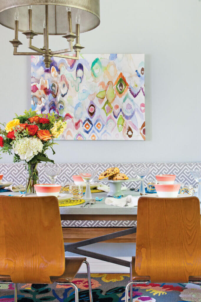 The dining room in this newly renovated home in Austin, Texas